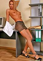 secretary posing on desk