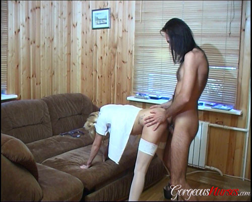 Slutty nurse fucked doggystyle