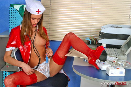 Naughty nurse Diana plays with her pussy