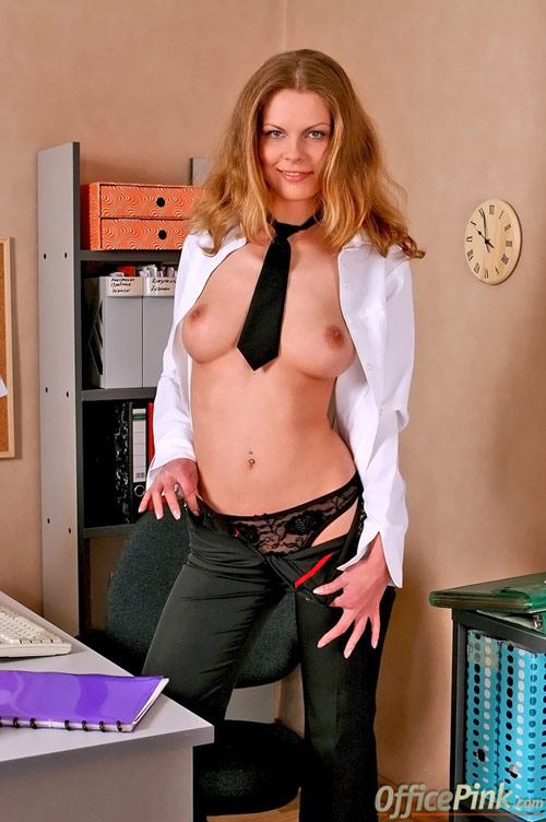 Nude secretary boobs and see-thru panties