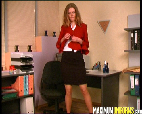 Stripping secretary in skirt suit and tan stockings
