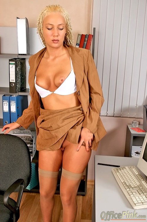 Blonde Mazantera wearing a hot secretary uniform